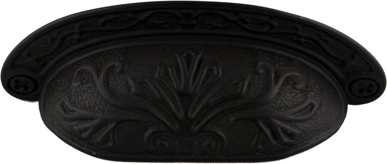 Oil Rubbed Bronze Baroque Scroll Work Cup Pull - Antique Cabinet, Vintage Cupboard, Old Desk Reproduction Restoration Hardware + Free Bonus (Skeleton Key Badge) DL-P2683-064OB (10)