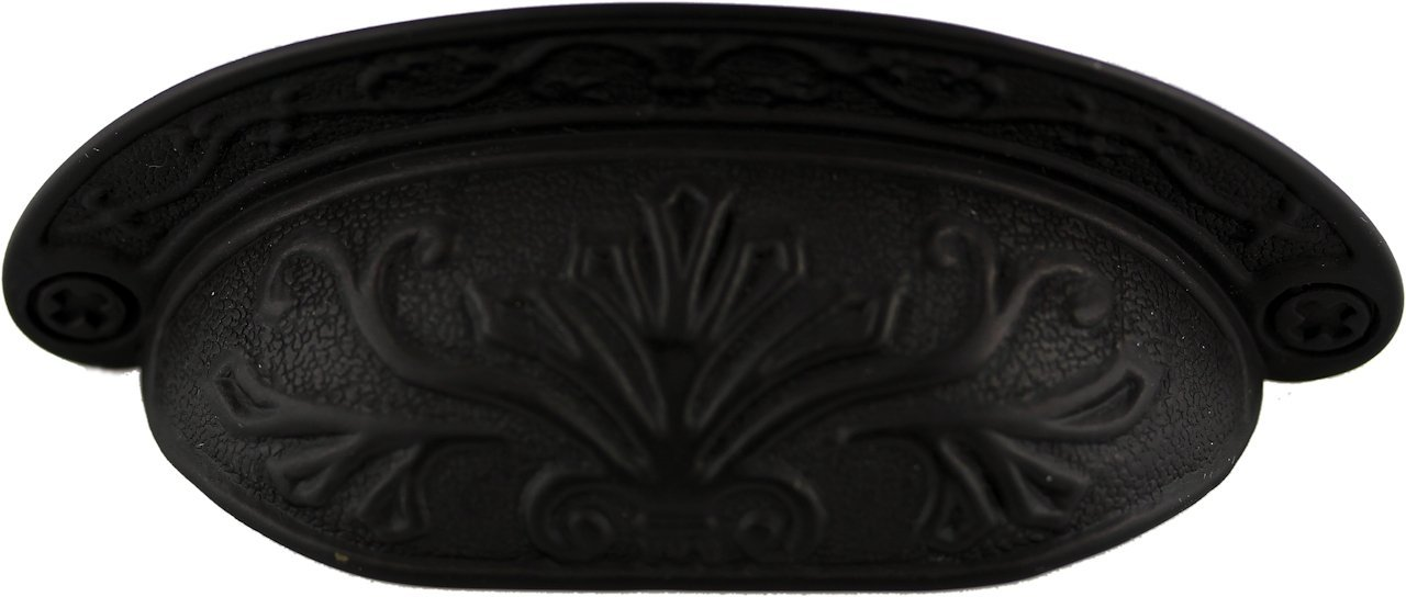 Oil Rubbed Bronze Baroque Scroll Work Cup Pull - Antique Cabinet, Vintage Cupboard, Old Desk Reproduction Restoration Hardware + Free Bonus (Skeleton Key Badge) DL-P2683-064OB (6) by UNIQANTIQ HARDWARE SUPPLY (Image #1)