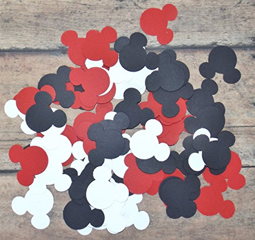 Red Black and White Mickey Minnie Mouse Paper Party Confetti Decoration 1 Inch 450 Pieces]()