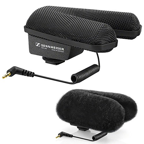ompact Stereo Shotgun Microphone + Sennheiser MZH 440 Fur Windshield (Sennheiser Stereo Mic)