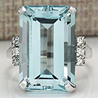 jindarat shop Large Women Jewelry 925 Silver Aquamarine Gemstone Wedding Bridal Ring Size 6-10 (7)