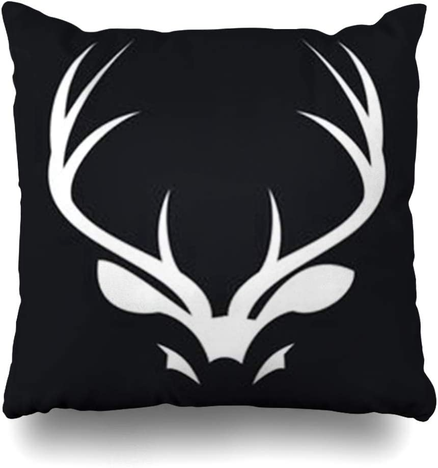 Klotr Fundas para Almohadas Deer Antler Black in Wildlife Antelope Canyon Ebony Wild Life Antlersanimals Pillowcase Square Size 18 X 18 Inches Home Decor Cushion Cases