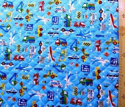 <プリント・キルティング生地>乗り物ランド(ブルー) (パトカー 消防車 飛行機 ダンプカー ショベルカー かわいい おしゃれ 男の子 女の子 子供 入園 入学 ピロル)の商品画像