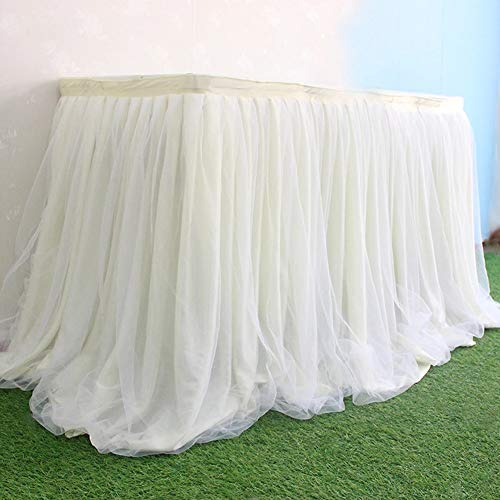Aibelly Tutu Tulle Table Skirt 3 Layer Mesh Fluffy Handmade Tableware Tablecloth For Christmas Wedding Baby Shower Wedding Birthday Party Home Decoration Table Skirting (L 6(ft) H 30in Milky White)