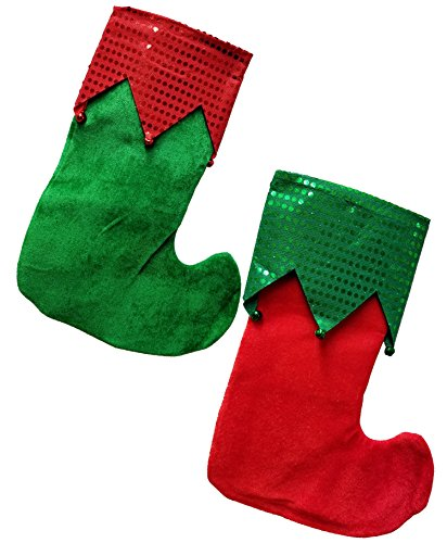 Christmas Elf Stockings With Bells Holiday Decoration Set of - 5th Ave Place