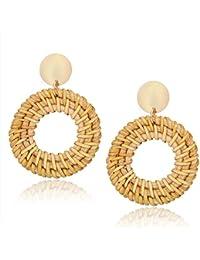 Rattan Earrings for Women Handmade Straw Wicker Braid Drop Dangle Earrings Lightweight Geometric Statement Earrings