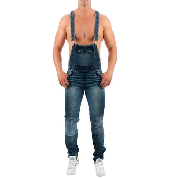 Pantalón Chandal Hombre Mono Vaquero Mezclilla Jumpsuit Casual Pantalones con Agujeros Suelto para Hombre Roto Talla Grande con Peto Tirante con ...
