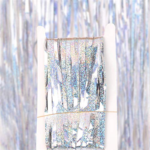 Karooch Reauable Aluminum Foil Tassel Curtain Tinsel with Shiny Surface Photo Wall Background Parties Sparkle Decorations for Wedding Birthday Festival Anniversary Party