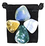 VERBAL COMMUNICATION Tumbled Crystal Healing Set with Pouch & Description Card - Blue Chalcedony, Blue Lace Agate, Citrine, and Moss Agate