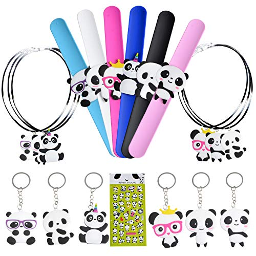 KREATWOW Panda Party Favors Kit for Kids Panda Wristband Favor Stickers Necklace Key Chains for Panda Bear Birthday Baby Shower
