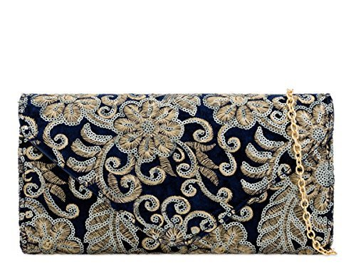 Occasion Foldover Dressy Bags Navy Womens Sequin Evening Ladies N10 Party Hand Clutch XxCYqHw