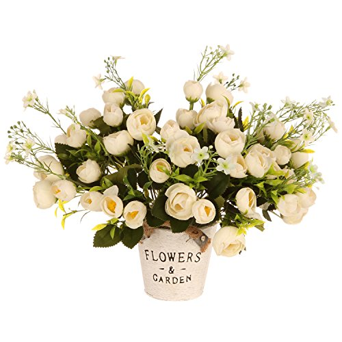 Artificial flowers with vase for home decor amazon tdvision artificial silk flowers rose bouquets for home decor party wedding 5 bundles no vase white mightylinksfo