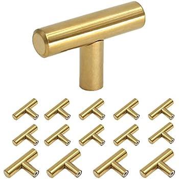 Homdiy Brushed Brass Cabinet Knobs 2in Modern Gold Kitchen