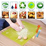 Silicone Baking Mats Pastry Mat - with Measurements BPA Free, Heat Resistant, Non Stick Pastry Board Rolling Dough Silicone Mat for Baking Bread Pizza Cookie Pie 10 PREMIUM QUALITY & FOOD SAFE: This silicone baking mats is made of FDA approved,100% food grade silicone, BPA free and no peculiar smell. Uomay baking mat can guaranty your food safe.Perfect cooking & baking accessories for any kitchen HEAT RESISTANCE & VERSATILITY MAT: This pastry mat Resists temperatures from -40°F to 450°F ,can be used in oven. Baking mats with measurements, scale in cm and inches. 15.7''*19.7''*0.05''Large Baking Mat Ideal for Kneading, Rolling, and Shaping Breads, cake, Pastry, Pie Crusts and fondants NON-STICK & EASY TO CLEAN: This non-stick baking mat will never tarnish, no more scrapping dough or fondant off the worktop when kneading or rolling on the mat.After your use,simply wash your pastry mat with warm soapy water or place in the dishwasher to clean
