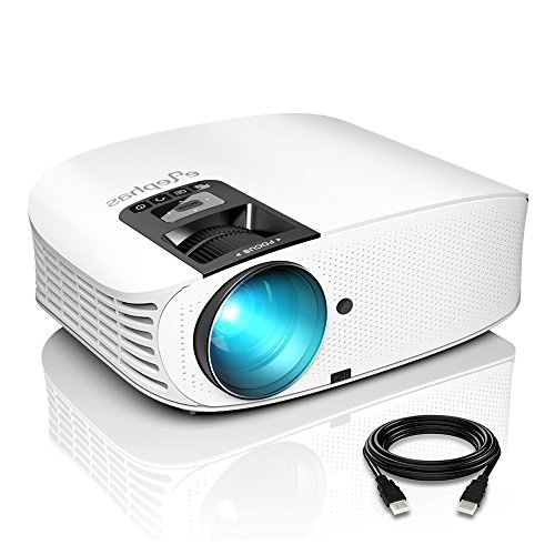 "Projector, ELEPHAS [2018 Upgraded Version] 1080P 200"" LCD Video Projector Support HDMI VGA AV USB Micro SD Ideal for Home Theater Entertainment Party and Games, White"