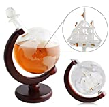 Tabletop Whiskey Decanter Set 1000ml Globe Decanter, Globe Glasses and Stainless Steel Whiskey Stones