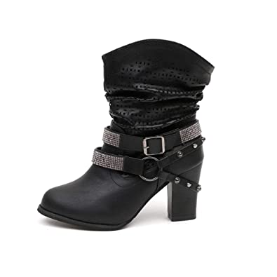 abb8067fda5 DAYSEVENTH Ladies Stylish Cool Rivet Hollow Out Ankle Boots Martin Cone  Heel Bootis Shoes(Black