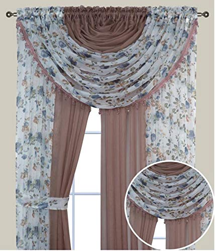 Complete Window Sheer Voile Floral Curtain Panel Set w/4 Attached Panels (55x84