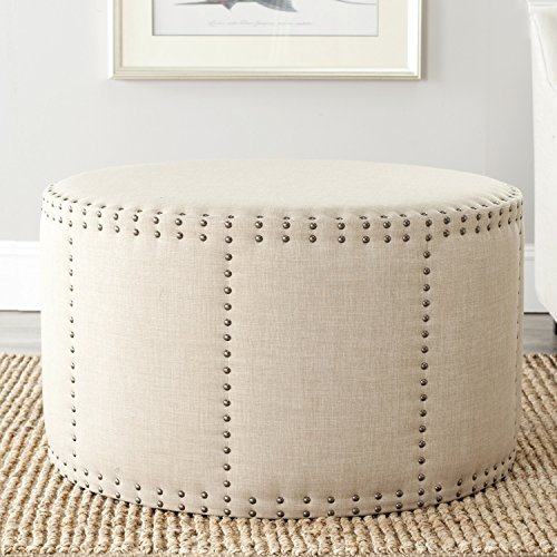 Safavieh Mercer Collection Faith Beige Nailhead Round Ottoman by Safavieh