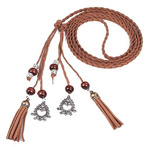 Price comparison product image Women Belt , Kaifongfu Fashion Folk-Custom Tassel Braided Pendant Waist Belt (Brown)