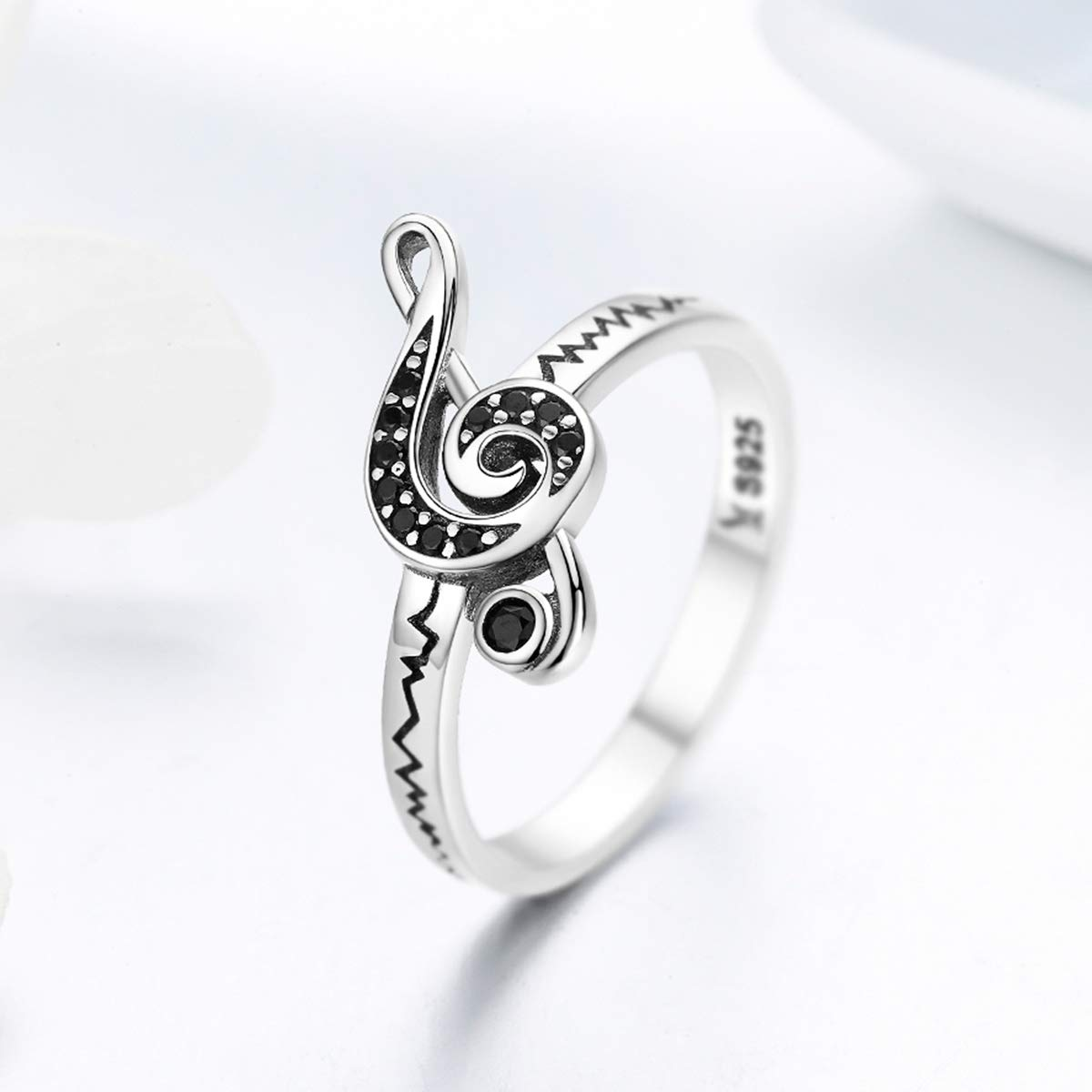 Everbling Musical note G-clef 925 Sterling Silver Ring Black CZ