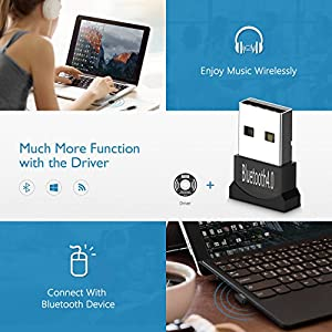 Mpow Bluetooth Dongle for Computer PC to Connect with Mpow 059 H1 H2 H5 H8 Thor and More other Bluetooth Headphones/Speakers/Mouse/Keyboard, Low Energy Micro Adapter Wireless USB Bluetooth 4.0 Adapter