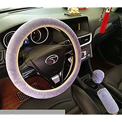 "FUNY 1 Set 3 Pcs Winter Warm Non-Slip Plush Steering Wheel Cover Handbrake Cover Gear Shift Cover Car Decoration 14.96""x 14.96"" (Grey): Pet Supplies"