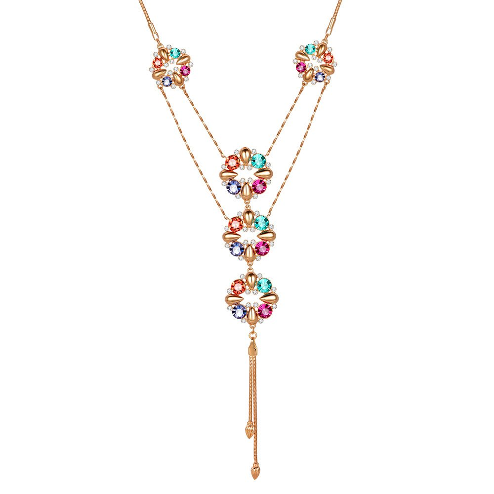 Kemstone Rose Gold Rainbow Color Rhinestone Crystal Flower Y Necklace, 31 31 6802101402