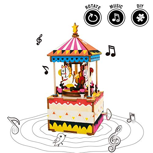 (SHANYYH Music Box RotatingDIYCarousel Music Box Wooden Carousel Home Decor Supplement Beauty Romantic Horse Children Gift Friends)