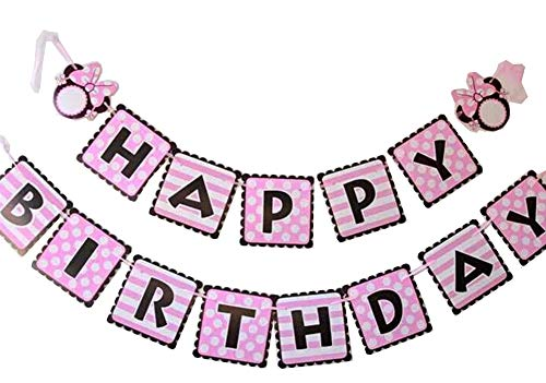 NEWTGAN Minnie Happy Birthday Banner, Mini Mouse Style Party Decorations, Party Supplies, Baby Shower Decor for Girls (style2) -