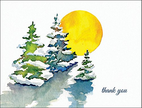 Watercolor Winter Snow Trees Thank You Cards - Set of 12 Cards and Bright Snow White Envelopes - Framing Trees Water