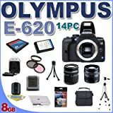 "Olympus Evolt E620 12.3MP Digital SLR Camera - 2.7"" LCD w/ 14-42mm f/3.5-5.6 and 40-150mm f/4.0-5.6 ED Zuiko Lenses BigVALUEInc 14PC 8GB Card Filter And More"