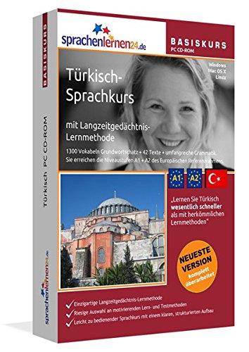 Türkisch-Basiskurs mit Langzeitgedächtnis-Lernmethode von Sprachenlernen24: Lernstufen A1 + A2. Türkisch lernen für Anfänger. Sprachkurs PC CD-ROM für Windows 10,8,7,Vista,XP / Linux / Mac OS X