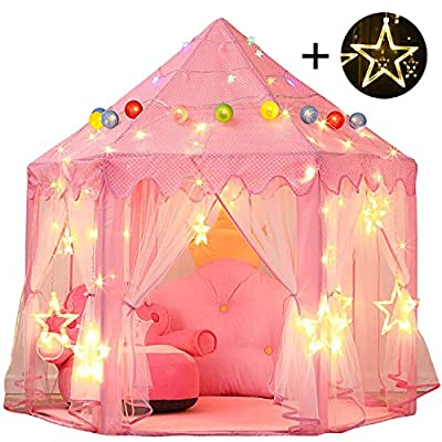 Senodeer Princess Castle Play Tent for Girls with Large Star Lights, Kids Toys Playhouse Gift Idea for Little Girls Indoor and Outdoor Games, Pink: Toys & Games
