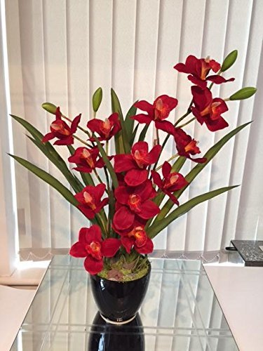 Chic Blooms Artificial Large Red Cymbidium Orchid Display Black Vase with Pebbles