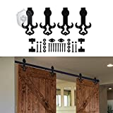 KIRIN Metal Black Sliding Flat Track Set 2 Wood Barn Doors Hardware Tauren Shape Rustic Style (14FT)