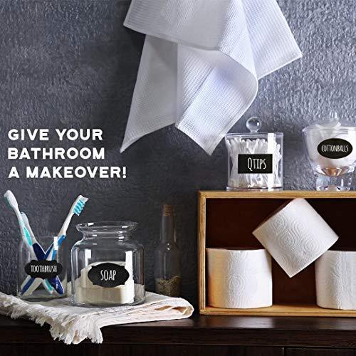 96 Premium Chalkboard Labels Bulk - Free Erasable Chalk Pen - Dishwasher Safe Chalk Board Mason Jar Labels - Removable Waterproof Blackboard Sticker Label for Jars Glass Bottle Kids