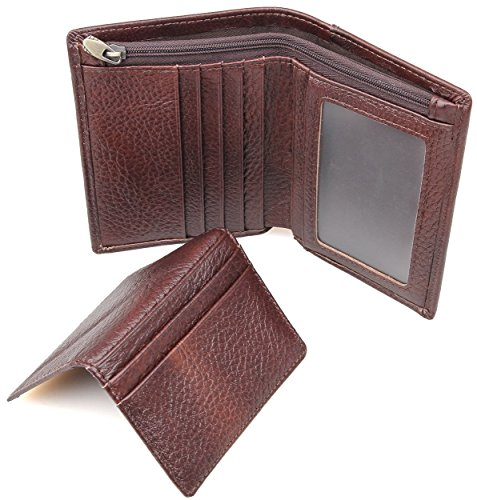 Men's Wallet, RFID Blocking Full Grain Leather ID Window Multi-Currency Compact Wallet, Free Gift Box, 2 Piece Set Bifold, Zipper Pocket, Coffee Vertical Style, (Two Currency Pockets)