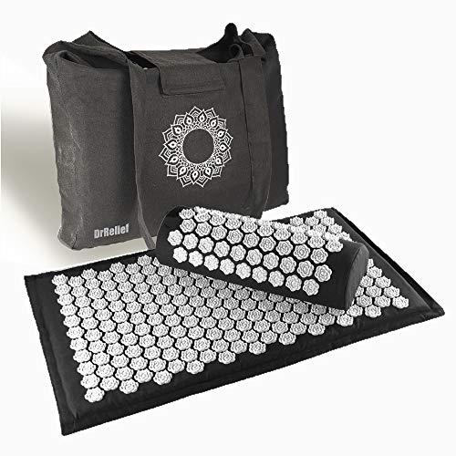 "DrRelief Acupressure Mat 28"" x 17"" - Shiatsu Intervention Mat & Pillow Gift Set - Quick Back & Neck Pain Relief for Men & Women"