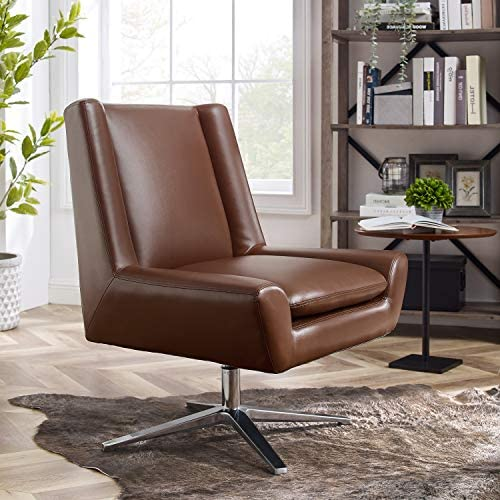 Art Leon Modern Faux Leather Swivel Accent Chair No Wheel