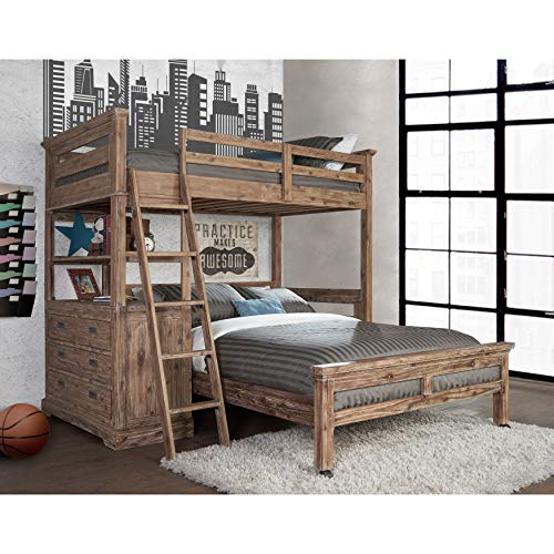 Hillsdale Furniture 7104-320NLLFB Oxford Loft with 4 Drawer Chest and Full Lower Bed, Twin, Cocoa