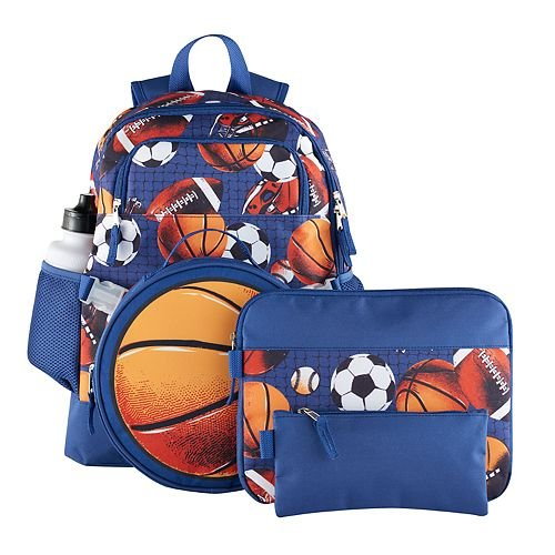 Kids Sports 5 Piece Backpack Set - Large Backpack, Lunch Bag, Pencil Case, Water Bottle and Clip by Accessories (Find Bags Accessories)