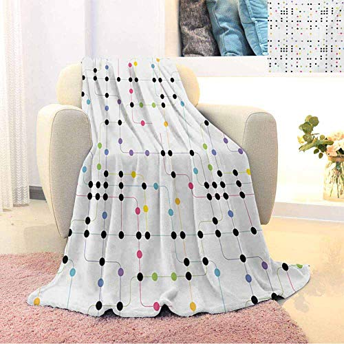 GGACEN Colorful Comfortable Large Blanket Metro Scheme with Vivid Colored Intricate Lines and Dots Urban Life Transportation Microfiber Blanket Bed Sofa or Travel W80 x L60 Inch Multicolor (Sofa Metro Bed)