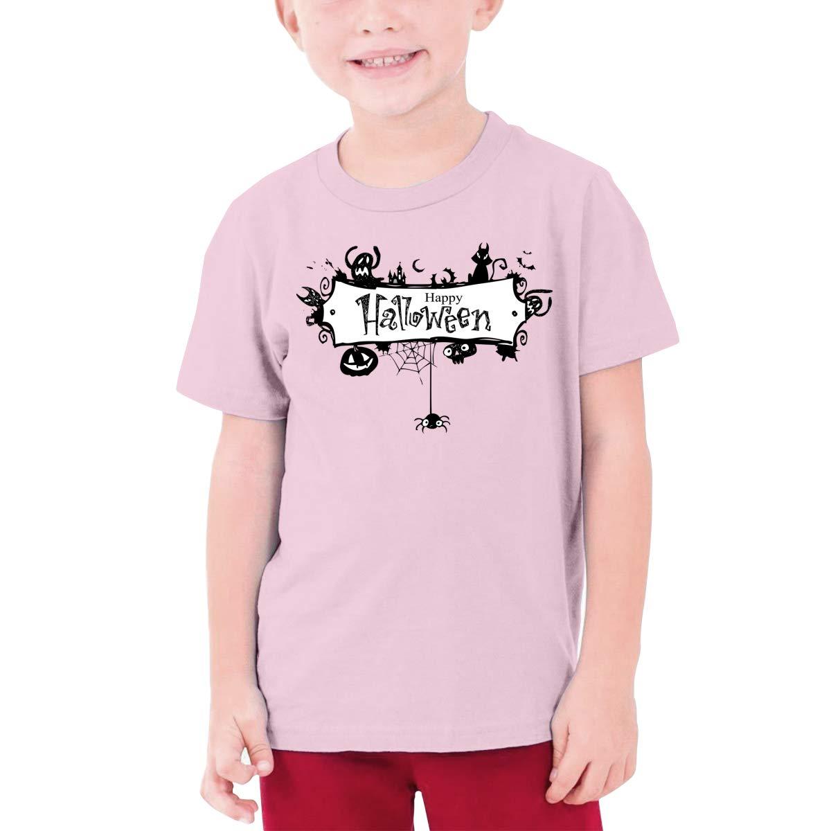 CiXianFuLu Happy Halloween Teenagers Soft T-Shirt Unisex Black