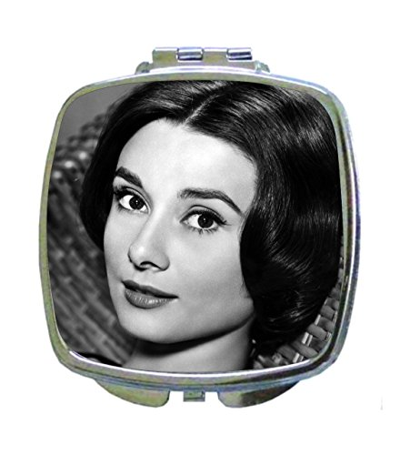 Lea Elliot Up Close Image of Vintage Style Audrey Hepburn British Actress Celebrity Smoking Square Shaped Compact Travel Pocket Size Beauty Mirror Audrey Hepburn Close Up