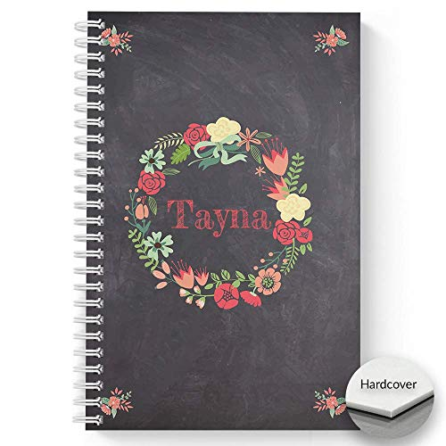 HARDCOVER Floral Wreath Personalized Notebook/Journal, Satin Matte Finish, 120 College Ruled pages, lay flat wire-o spiral. Size: 5.5