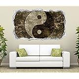 3D Wandtattoo Yin & Yang Symbol Feng Shui Zen Wand Aufkleber Durchbruch Stein selbstklebend Wandbild Wandsticker 11N816, Wandbild Größe F:ca. 97cmx57cm