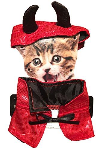 Devil Cat Costumes (Adorable Halloween Pet Costume for Cat - Devil Hat & Cape (One Size, Adjustable))
