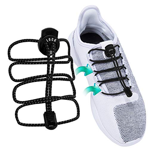 ADIERLIFE Lock Shoelaces No-tie System, Flexible & Comfortable Stretch Laces Completely Get Rid The Tie Process (7 Colors, 100cm) (Platforms Lace Stretch)