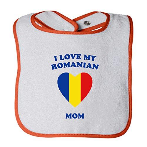(I Love My Romanian Mom Cute Rascals Tot Contrast Trim Terry Bib White/Orange)